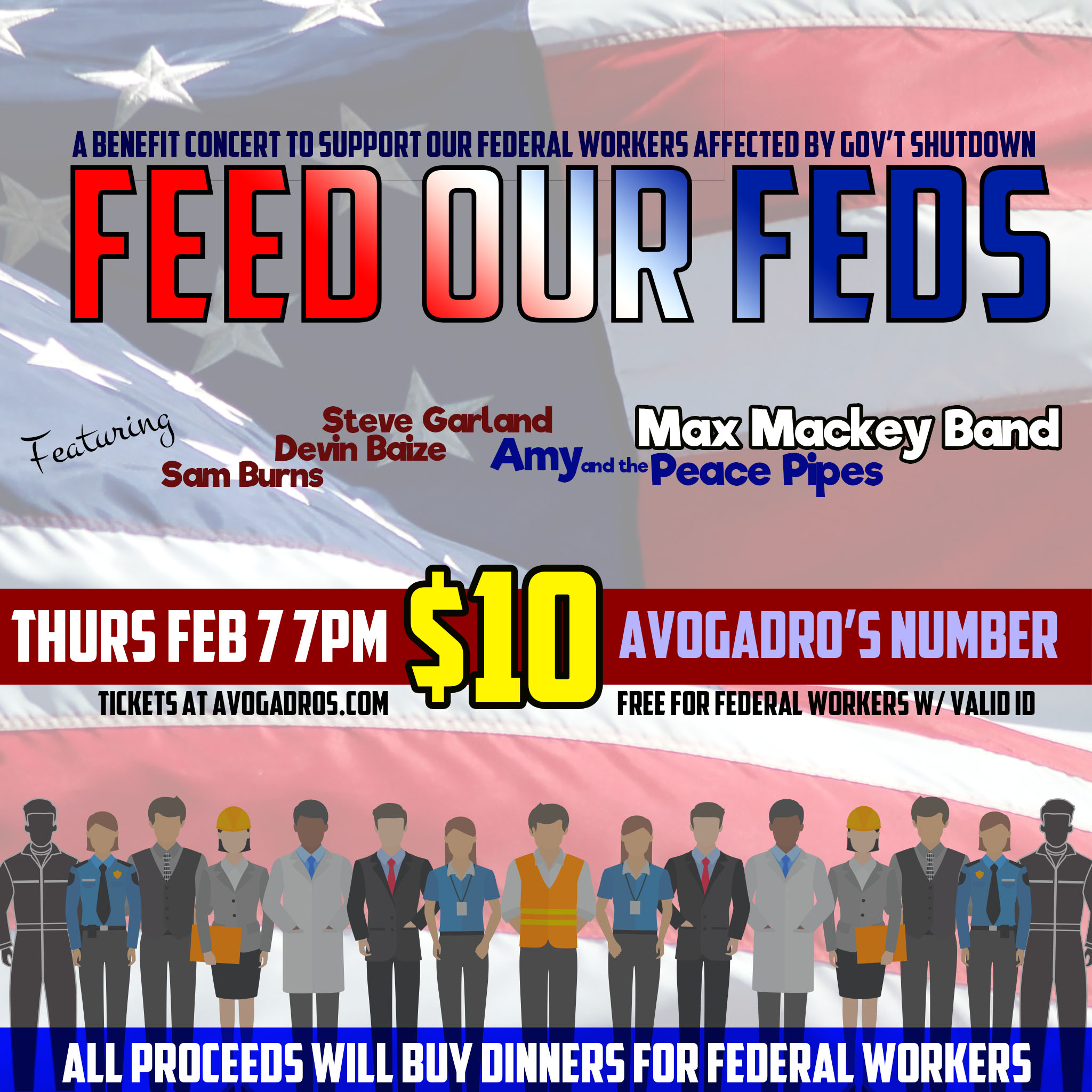 """Feed Our Feds"" - A benefit concer to support our federal workers affected by Gov't Shutdown"