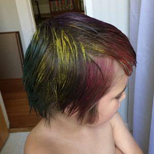 Bonus: The bean got some temporary rainbow hair to match his mama.