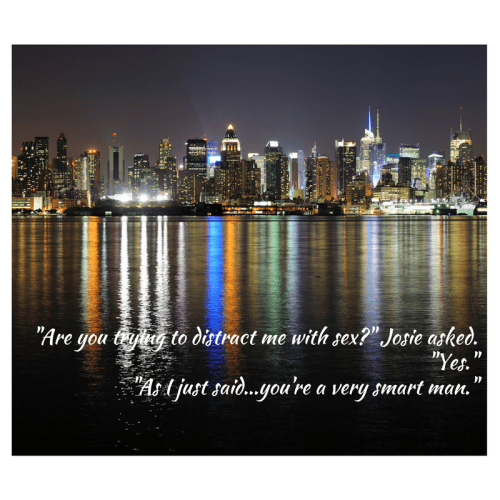 New York City skyline at night with quote