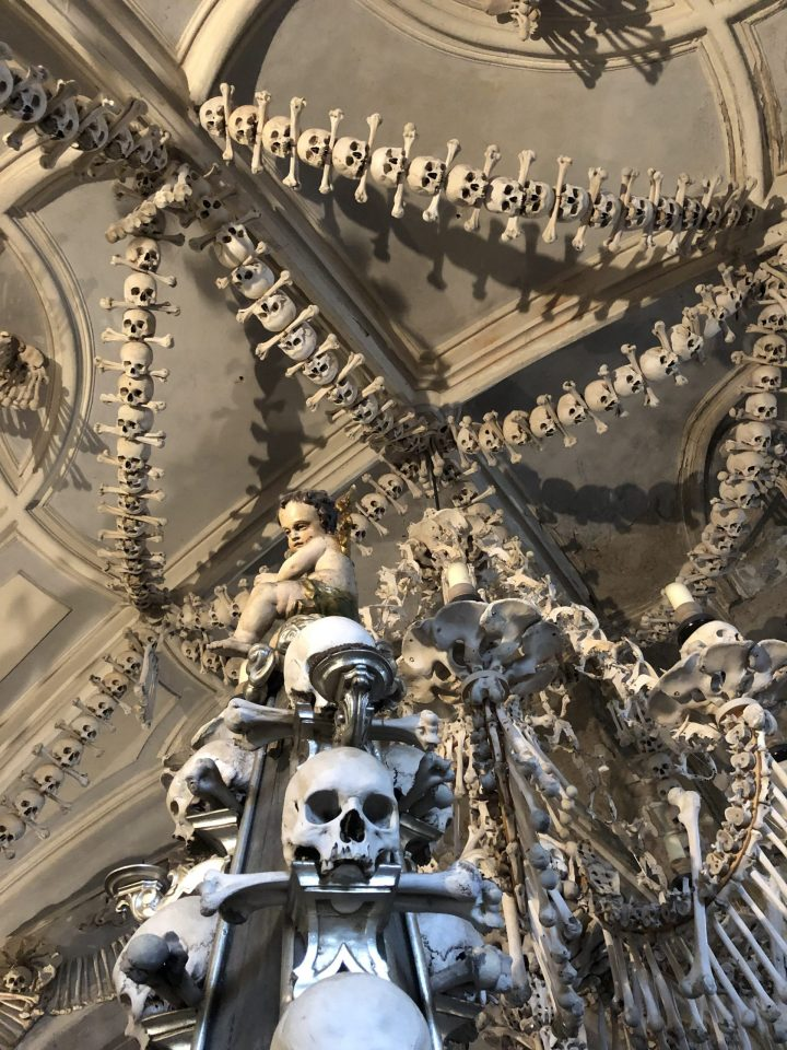 Part of the chandelier made of skulls and other human bones in the Sedlec Ossuary in Kunta Hora, Czechia.
