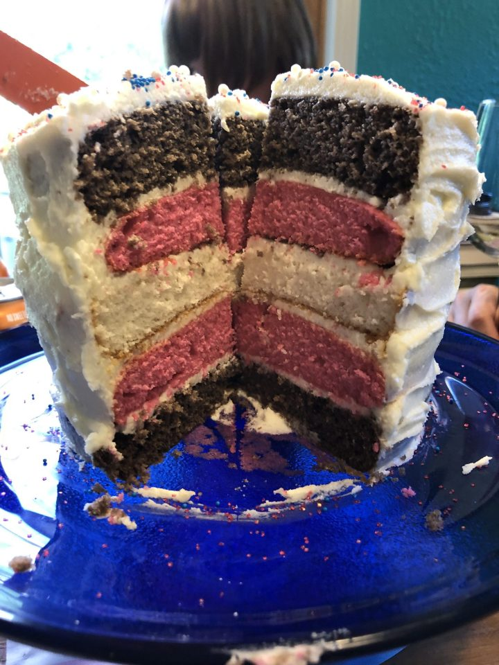 A layer cake. There are five layers: blue, pink, white, pink, blue. They are meant to represent the trans pride flag, although the blue is much too dark.