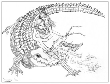 Alligator Girls One 2009 - The Sketchbook Project, Art House Gallery, Atlanta, GA