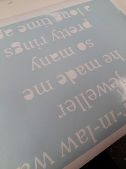 What the vinyl letters look like.