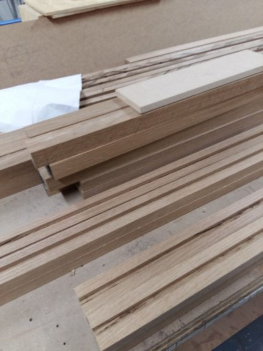 All my wood routed and ready to be made into frames! Some of the oak has warped but the wood workshop guys said they will be able to fix it which is good news.