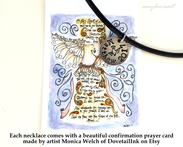 Each confirmation necklace comes with a prayer card