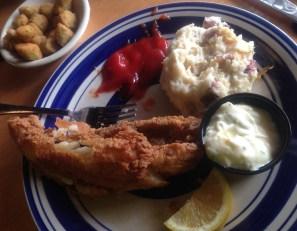 Jestine's fried flounder w. fried okra & mashed potatoes