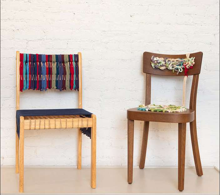 The chair by Ms. Aguiñiga, left. For the seat, she used thin rope to provide structural support and then layered navy-blue T-shirt material on top. Right, Ms. Devers's chair. Credit: Robert Wright for The New York Times
