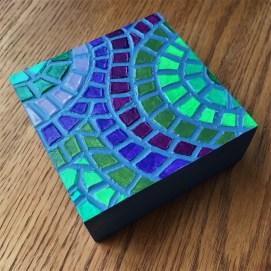 """Aubergine"", 4 x 4"", acrylic medium on wood block, 2016, $40"