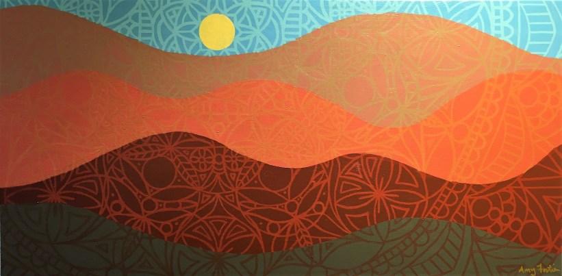 """""""Autumn Mandalascape"""",12 x 24, acrylic on canvas, 2016, $250"""