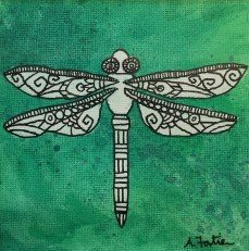 """""""Dragonfly"""", 5 x 5, watercolor and ink on canvas paper, 2013, $100 (Framed)"""