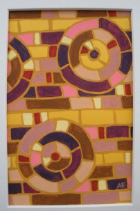 """""""Moving Mosaic: Yellow"""" 4 x 6, acrylic on paper, $20 (includes black frame)"""