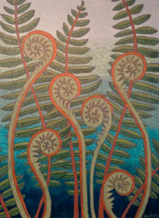 """""""Fiddleheads"""", 18 x 24, acrylic on canvas, 2013, DONATED to Montshire Museum auction"""