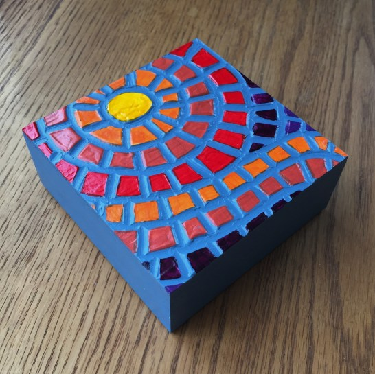"""Indian Summer"", 4 x 4"", acrylic medium on wood block, 2016, $40"