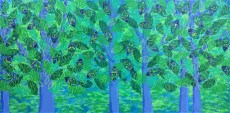 """""""Tranquilitrees"""", 24 x 48, acrylic on canvas, 2016, SOLD"""