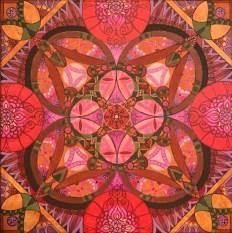 """Poppeacock Mandalascope"", Acrylic on canvas, 24"" x 24"", $400"