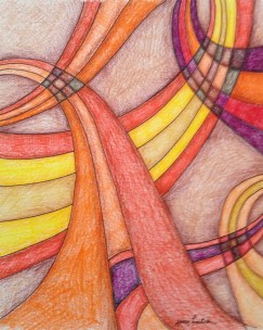 Crossing Paths, 8x10 colored pencil and ink, 2013, SOLD