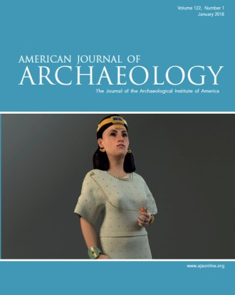 journal cover reading American Journal of Archaeology depicting woman in gold diadem and white dress holding gold chain