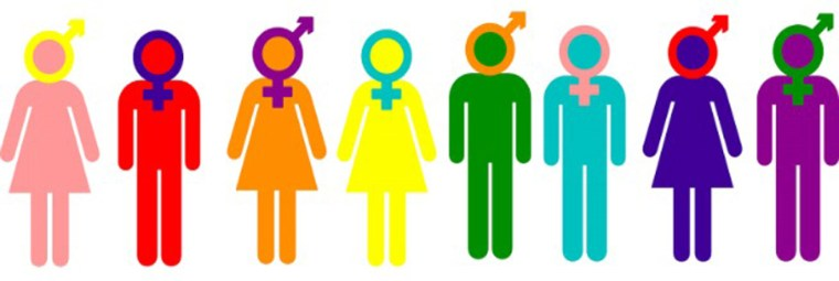 cartoon figures of men and women with gender symbols