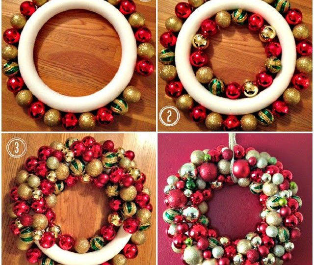 This ornament wreath is the perfect addition to your holiday decor! You can choose any color ornaments to match your decorations, just remember to buy them in different sizes. Take a look and see just how fun and easy this holiday wreath can be made.