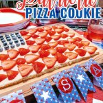 Take a look at how to make this fun and patriotic dessert! It's perfect for any Memorial Day, 4th of July or really, any summer gathering! #4thofjulyrecipe #fruitpizzacookierecipe #fruitpizza #cookiepizzarecipe #americadesserts #americanthemeddesserts