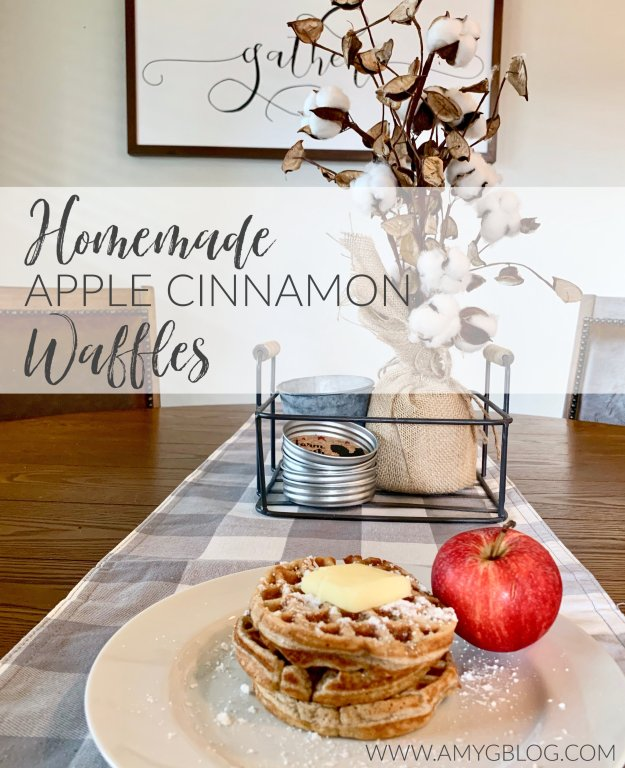 Homemade apple cinnamon waffles on a fall decorated table. Pin for Pinterest