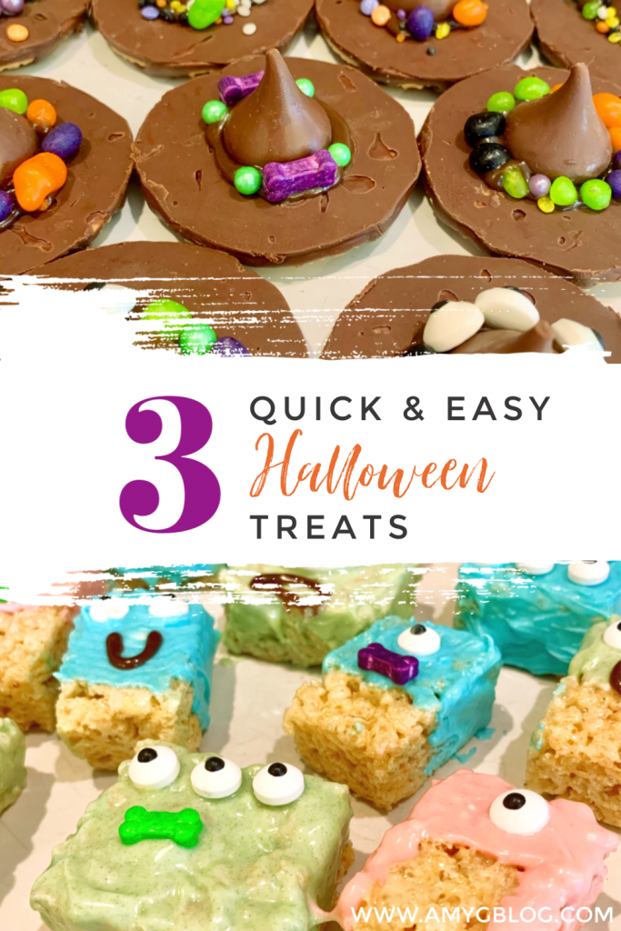 Check out these 3 quick and easy Halloween treats that you can make with your kids of any age! Witches hats, monster krispies and lollipop ghosts are delicious at any age!