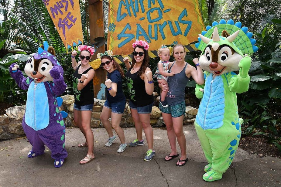 Being silly and playing around with Chip and Dale dressed as dinosaurs! Disney is fun and a place where you can be a kid again!