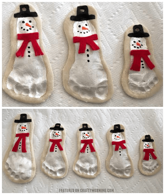 Snowman footprint salt dough Christmas ornaments! DIY Christmas ornaments for toddlers.