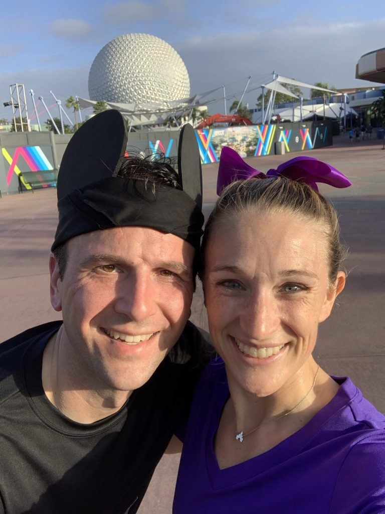 Epcot selfie during the Walt Disney World half marathon near mile 12.5!