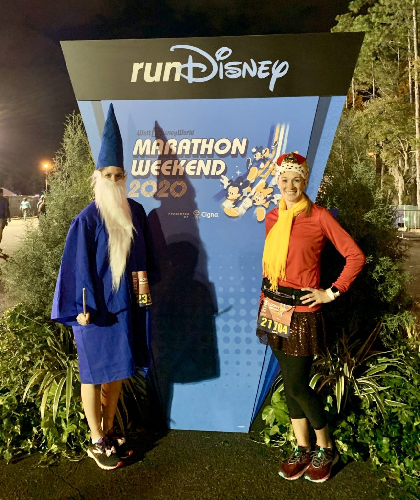 runDisney marathon weekend 5K race! Dressed as Arthur and Merlin from Sword in the Stone. Thanks to Amazon and Sparkle Athletic for our costume pieces!