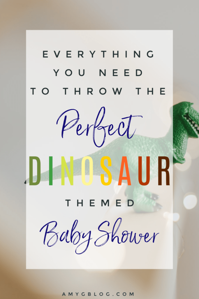 Take a look at everything you need to throw a dinosaur themed baby shower! Baby shower decorations, fun dinosaur themed candy bar, baby shower games, a dinosaur photo booth, food and more! #babyshower #dinosaurbabyshower #dinosaurtheme #dinosaurparty #babyshowergames #photobooth