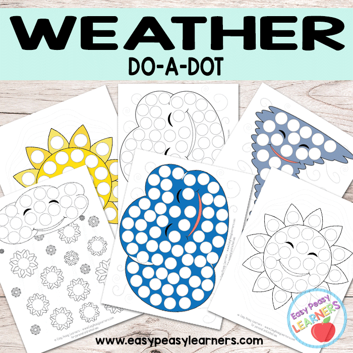Do a Dot Weather activities as well as several over free do a dot worksheets from Easy Peasy Learners