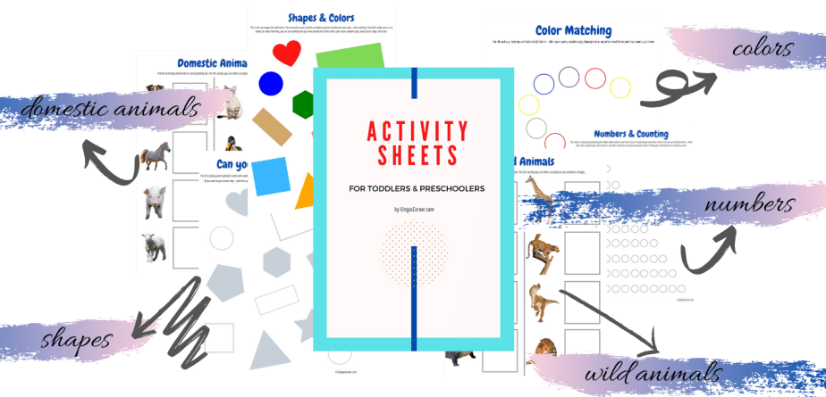 Activity worksheet bundle for preschoolers from Kinga's Corner