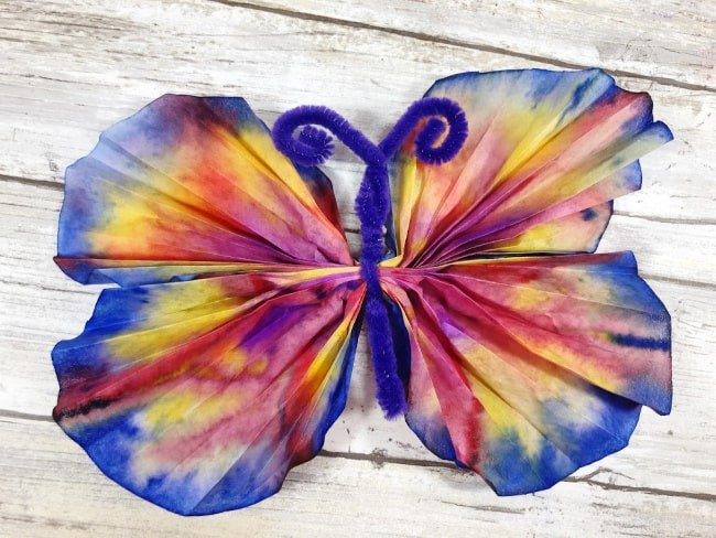 Butterfly Coffee Filter Craft - a summer craft for kids
