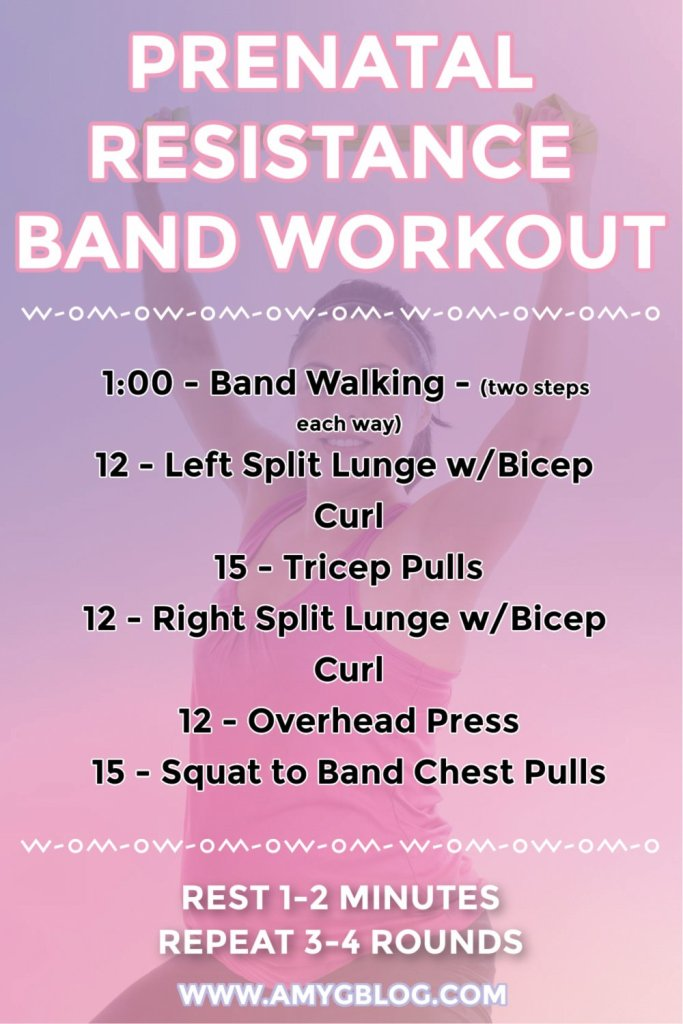 Resistance bands are one of the best pieces of prenatal exercise equipment. They help to tone the whole body without using heavy weights. Try this prenatal resistance band workout at home now! #prenatalfitness #fitpregnancy #pregnancyworkout