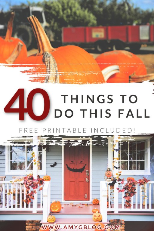 Have fun while maintaining social distancing this fall! Check out this list of 40 things to do at home and out and about this year! #fallbucketlist #fallprintable #socialdistantfun