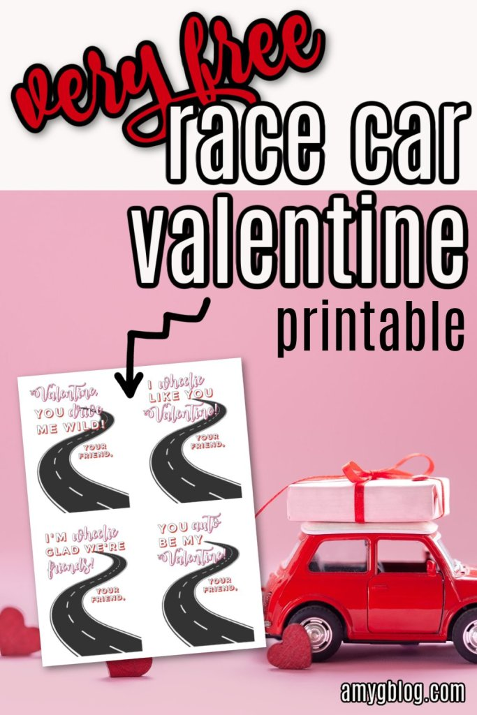 These race car Valentines are perfect for your kids to hand out at school! Get these free Valentines printables to go with any little car you choose! #valentinesday #racecarvalentines #kidsvalentines #valentinesprintable