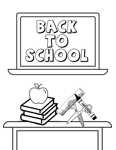 Chalkboard and Desk Back to School Coloring Page