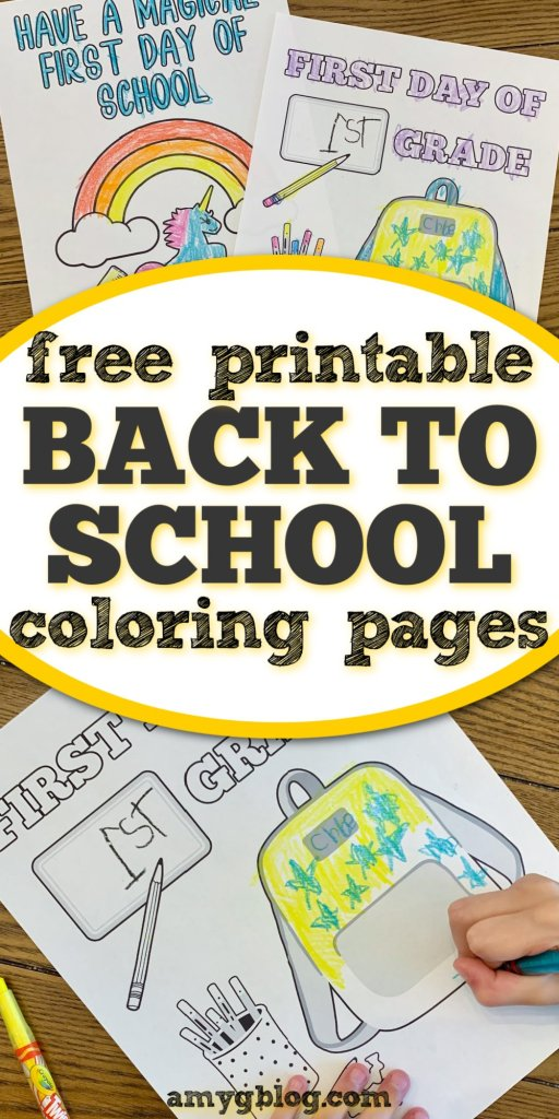 Grab your free printable back to school coloring pages here! Included are some fill in the blank grade level and first day of school printables. #freecoloringpages #freeprintablesforkids #backtoschoolprintable