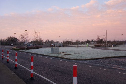 Dawn at a rest stop somewhere west of Dublin