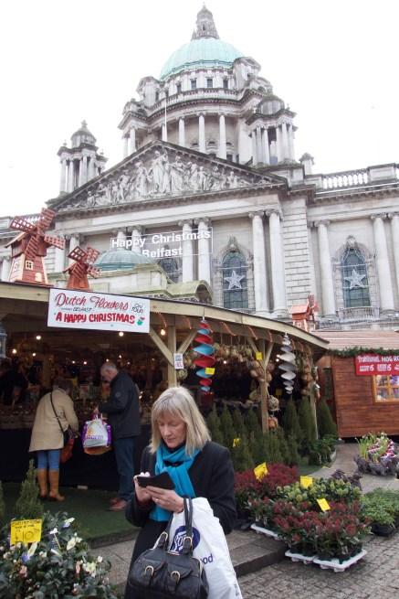 A Christmas market in Belfast