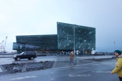 Harpa concert hall, designed to mimic the dancing green-blue of the Northern Lights