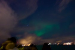 We saw the northern lights (barely) by boat!