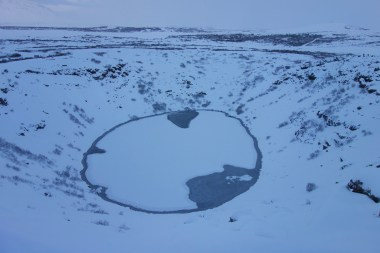 Snow-covered volcanic crater