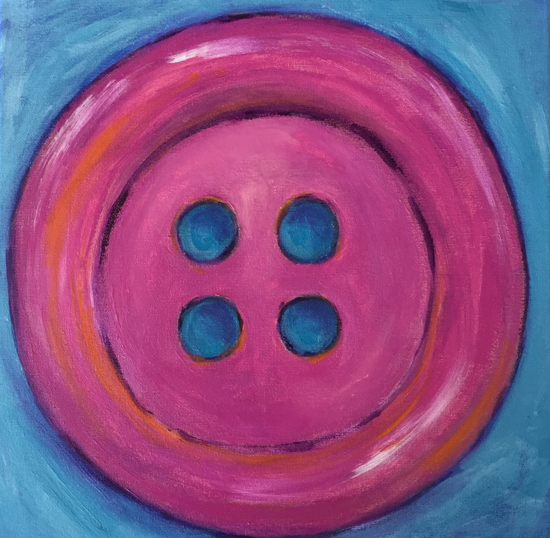 """Pink Button"" - 12x12 acrylic on canvas Copyright - Amy Greenberg"