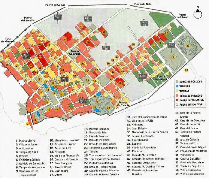 Map of Pompeii   Courtesy of romanoimpero.com