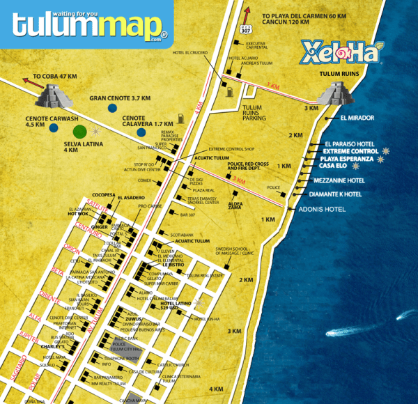 Tulum Map | Courtesy of tulumlastminute.com