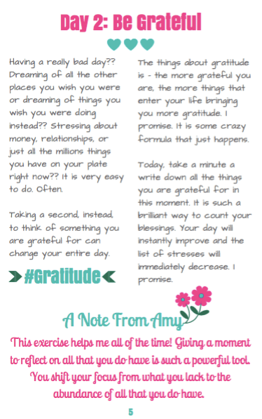 A page from the Amy Hates Carrots 'Live Inspired Daily' eBook. Did I mention it's completely FREE?! Let's get that bootay of yours good and inspired!