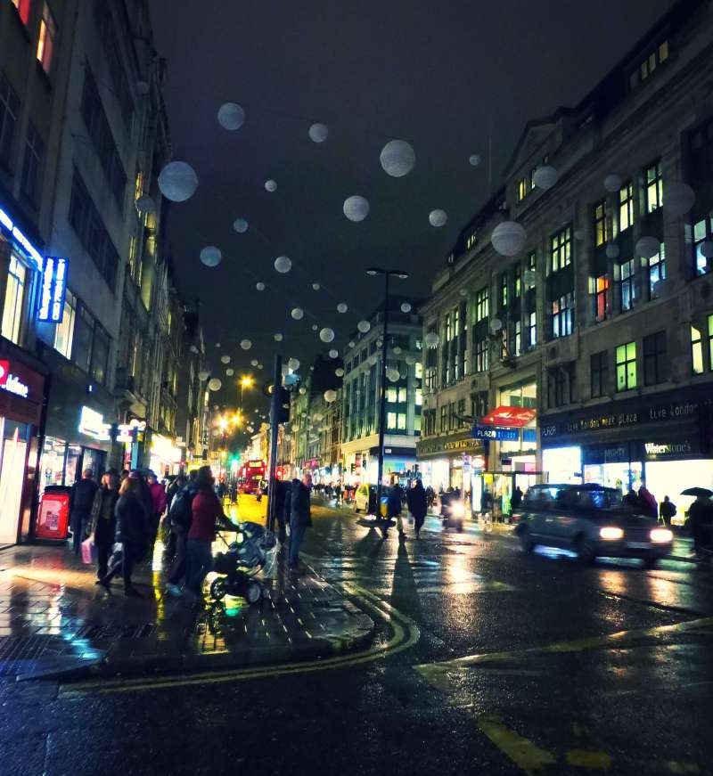 Oxford Circus on a winter night