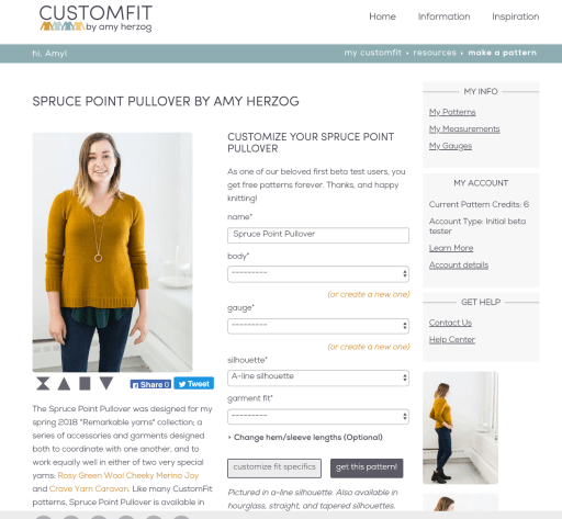 A screenshot of the pattern customization page for the Spruce Point Pullover design.